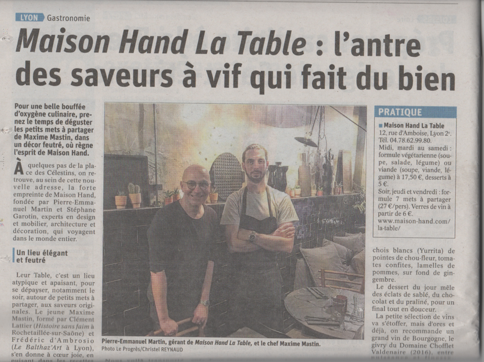 Maison Hand La Table - Article Le Progrès - Christel REYNAUD - 23 03 2019